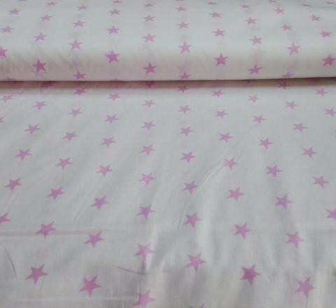 Бязь модная. Розовые звезды на белом фоне