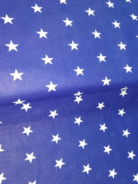 Бязь модная. Белые звезды на синем фоне