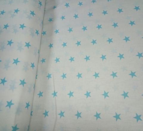 Бязь модная. Бирюзовые звезды на белом фоне