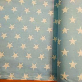 Бязь Ranforce белые звезды на голубом фоне крупные