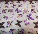 Бязь Ranforce фиолетовые бабочки на бежевом фоне
