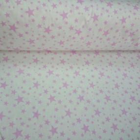 Бязь модная. Розовые звездочки на белом фоне 2