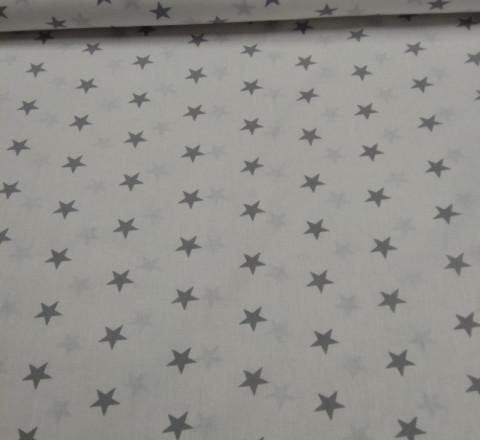 Бязь модная. Серые звезды на белом фоне