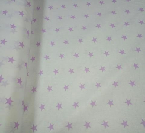 Бязь модная. Сиреневые звезды на белом фоне