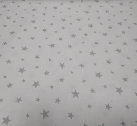 Бязь Ranforce светло-серые звезды на белом фоне