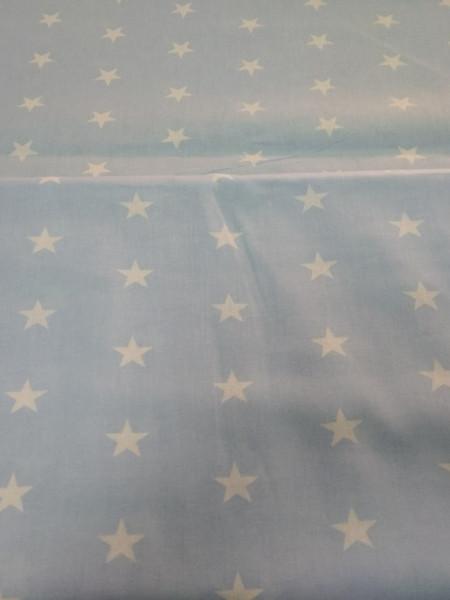 Бязь модная. Белые звезды на голубом фоне